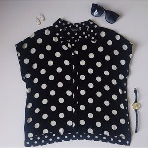 Topshop Button Up Polka Dot B&W Shirt - Sz 2